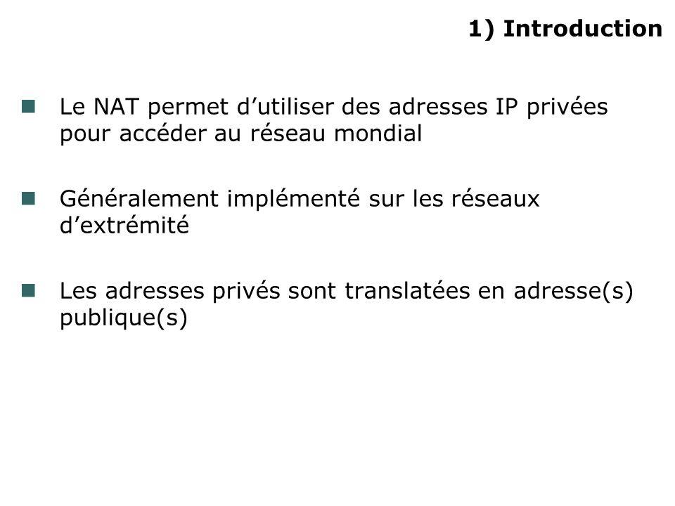 1) Introduction Le NAT permet d'utiliser des adresses IP privées pour accéder au réseau mondial.
