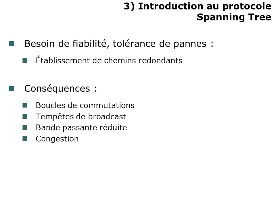 3) Introduction au protocole Spanning Tree