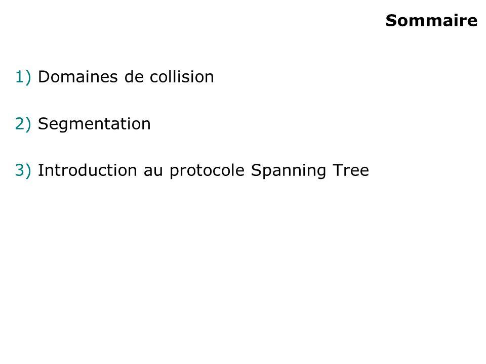 Sommaire 1) Domaines de collision 2) Segmentation 3) Introduction au protocole Spanning Tree