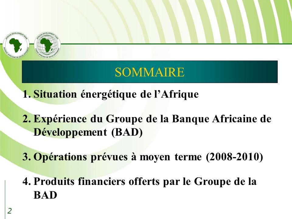 SOMMAIRE 1. Situation énergétique de l'Afrique