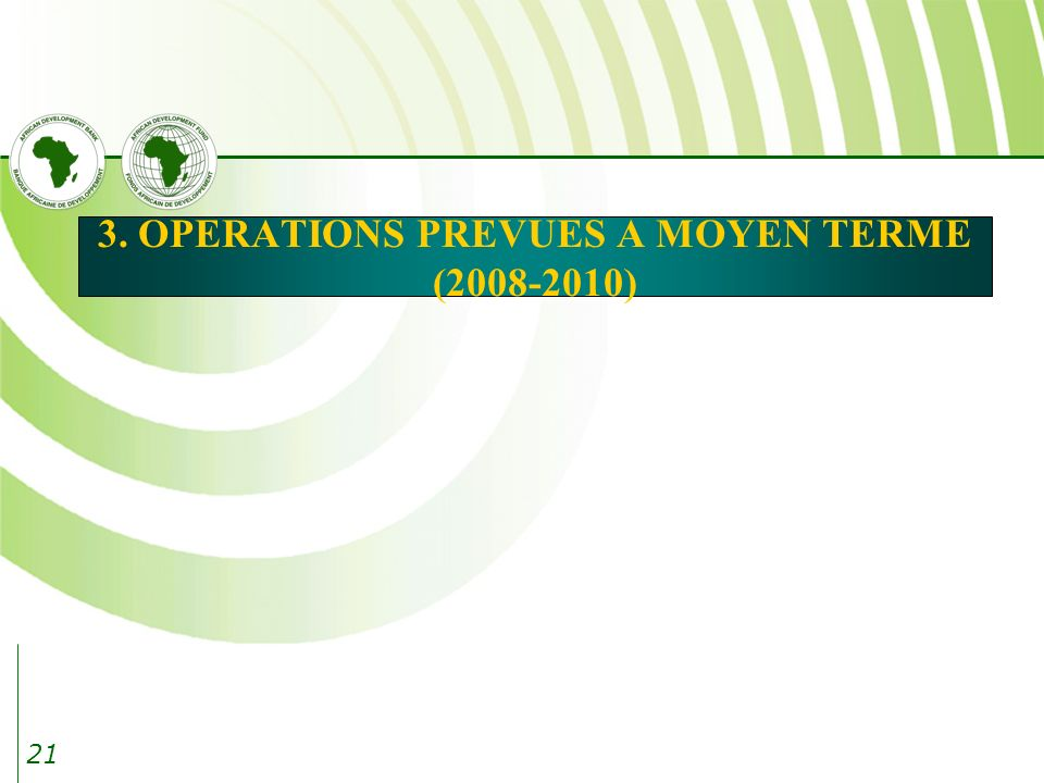 3. OPERATIONS PREVUES A MOYEN TERME (2008-2010)