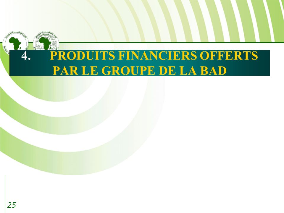 4. PRODUITS FINANCIERS OFFERTS PAR LE GROUPE DE LA BAD