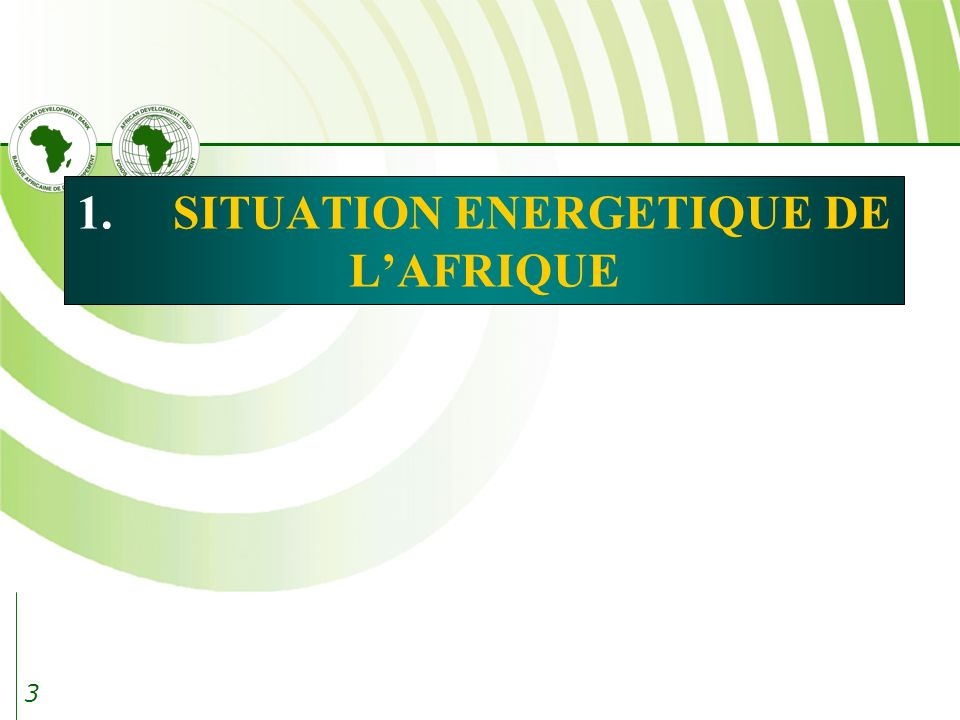 1. SITUATION ENERGETIQUE DE L'AFRIQUE