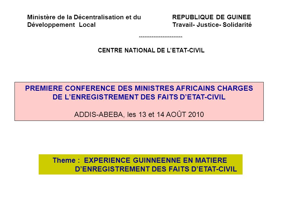 PREMIERE CONFERENCE DES MINISTRES AFRICAINS CHARGES