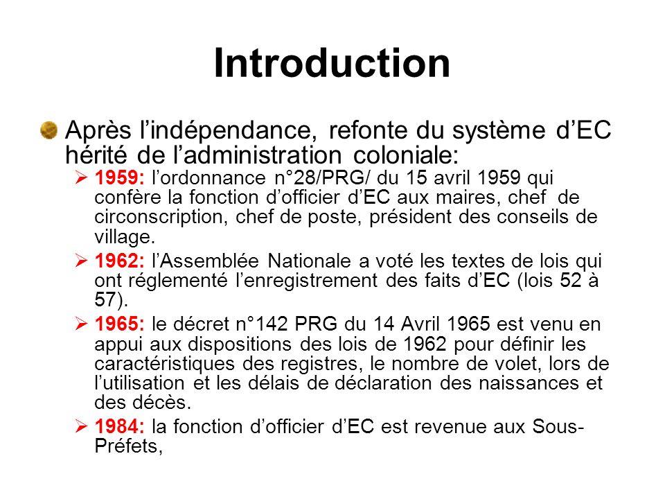 Introduction Après l'indépendance, refonte du système d'EC hérité de l'administration coloniale: