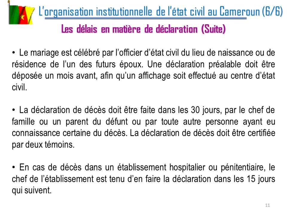 L'organisation institutionnelle de l'état civil au Cameroun (6/6)
