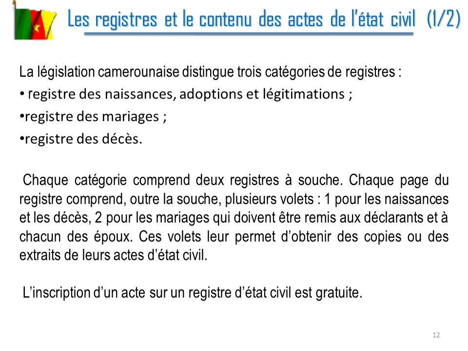 Les registres et le contenu des actes de l'état civil (1/2)