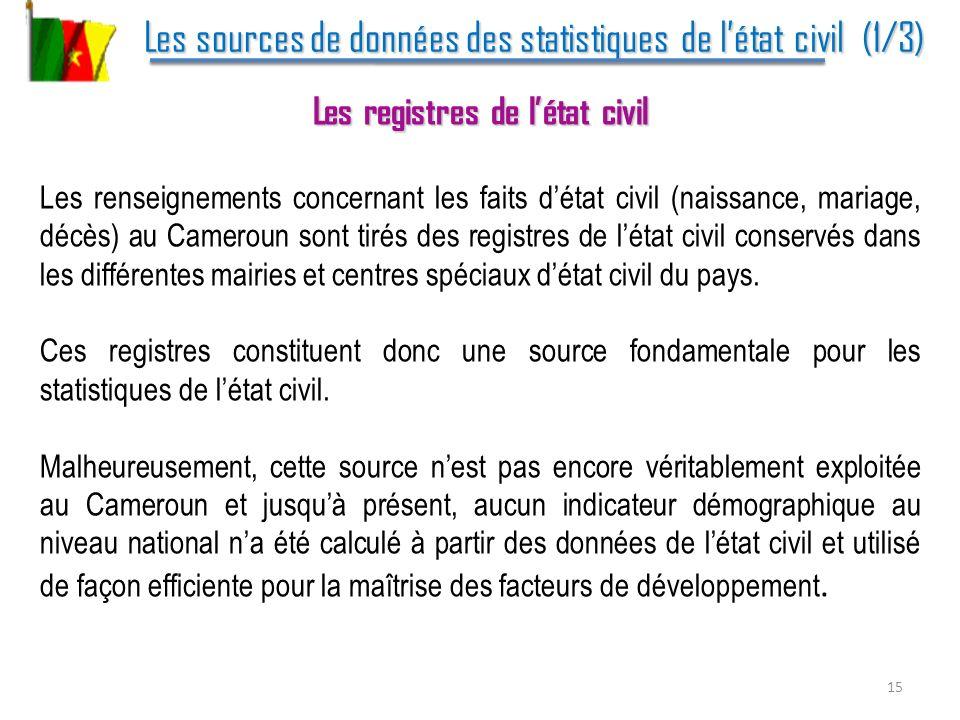 Les sources de données des statistiques de l'état civil (1/3)