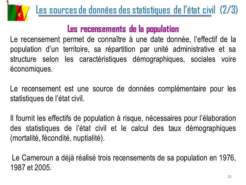 Les sources de données des statistiques de l'état civil (2/3)