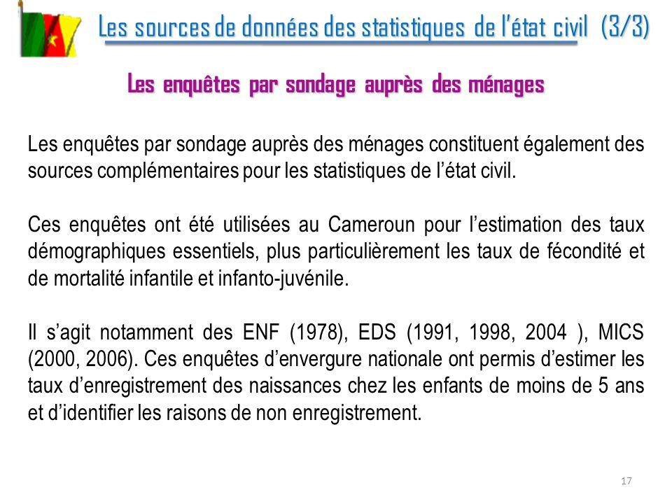 Les sources de données des statistiques de l'état civil (3/3)