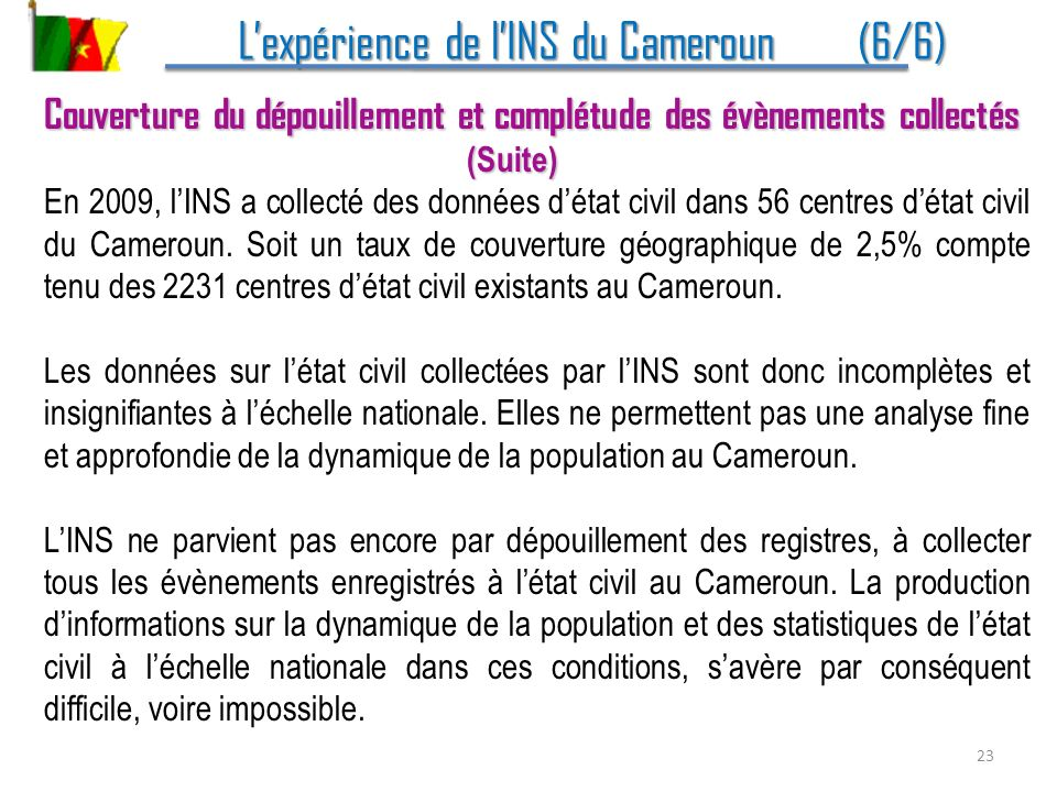 L'expérience de l'INS du Cameroun (6/6)