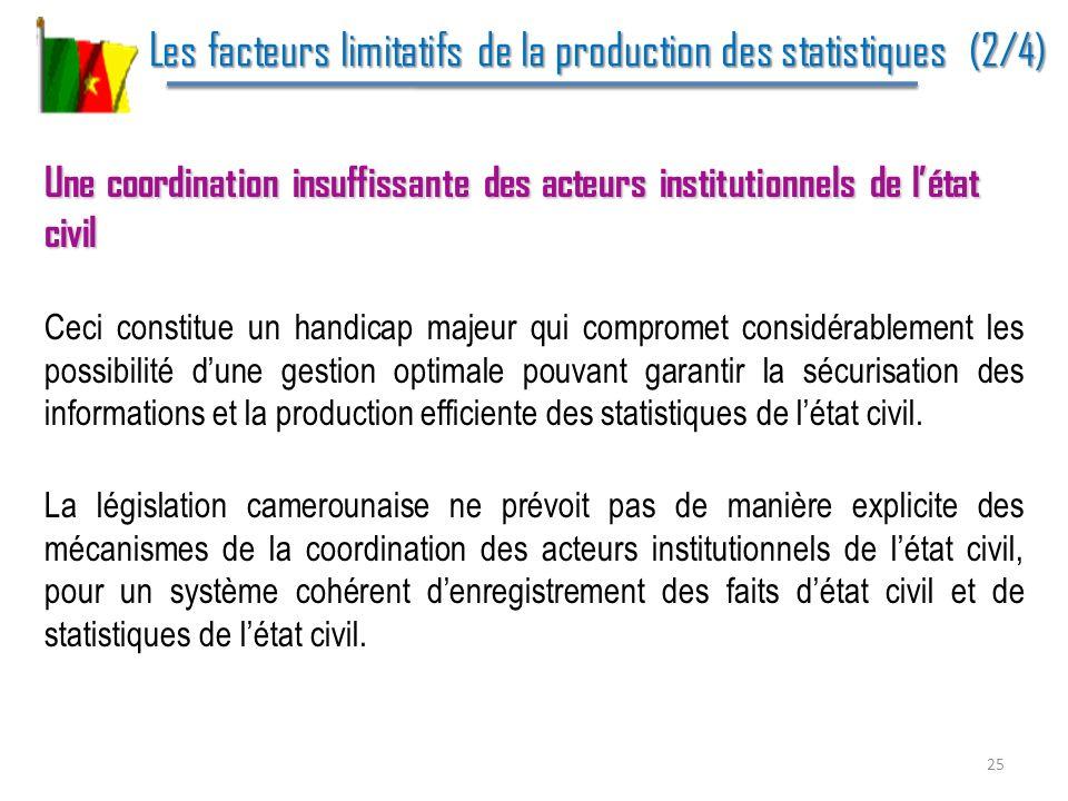 Les facteurs limitatifs de la production des statistiques (2/4)