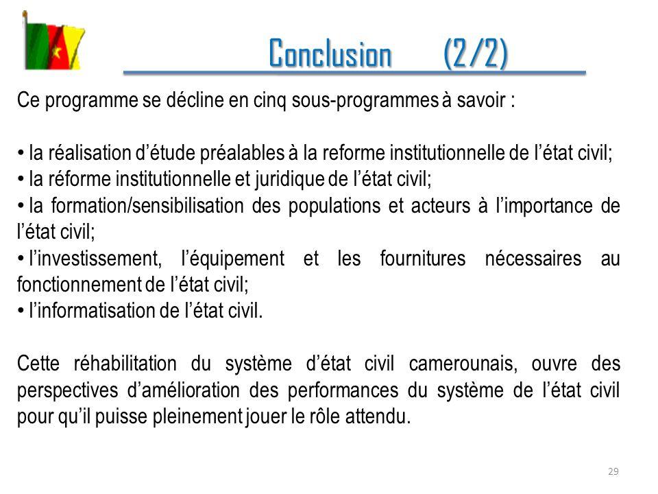 Conclusion (2/2) Ce programme se décline en cinq sous-programmes à savoir :