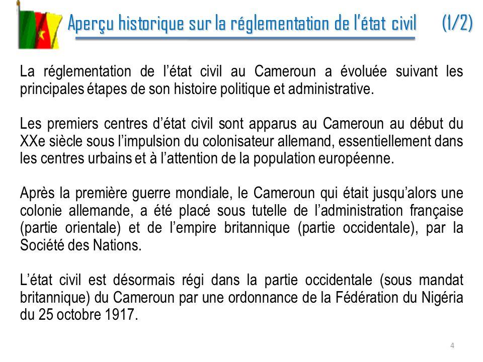 Aperçu historique sur la réglementation de l'état civil (1/2)