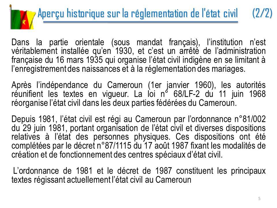 Aperçu historique sur la réglementation de l'état civil (2/2)