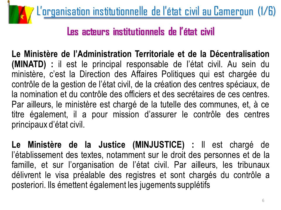 L'organisation institutionnelle de l'état civil au Cameroun (1/6)
