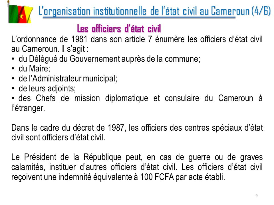 L'organisation institutionnelle de l'état civil au Cameroun (4/6)