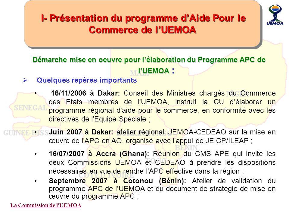 I- Présentation du programme d'Aide Pour le Commerce de l'UEMOA