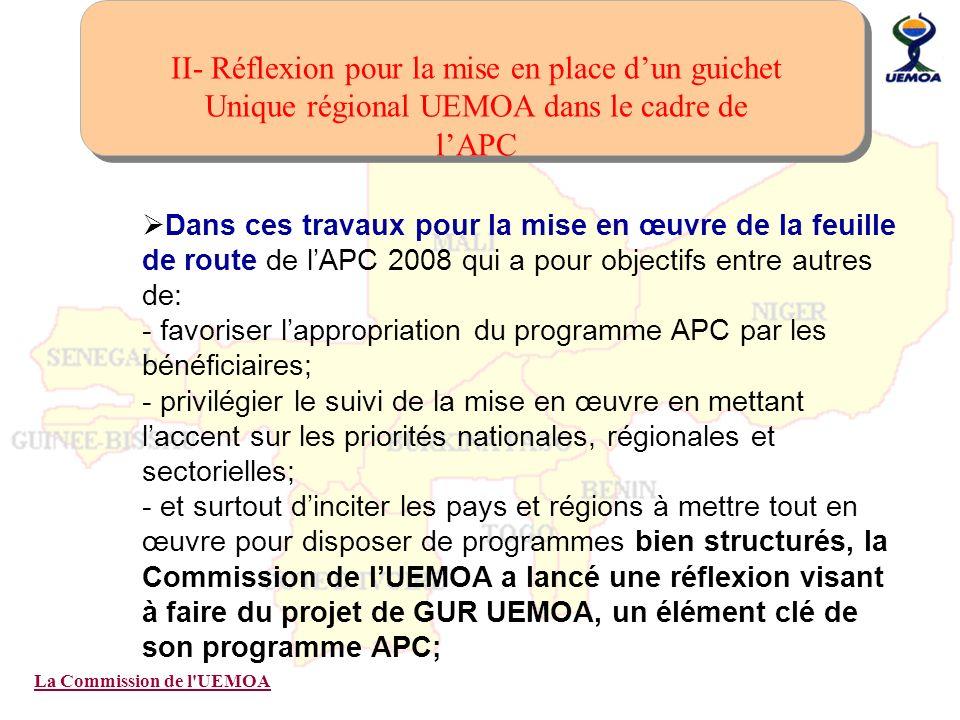 II- Réflexion pour la mise en place d'un guichet Unique régional UEMOA dans le cadre de l'APC