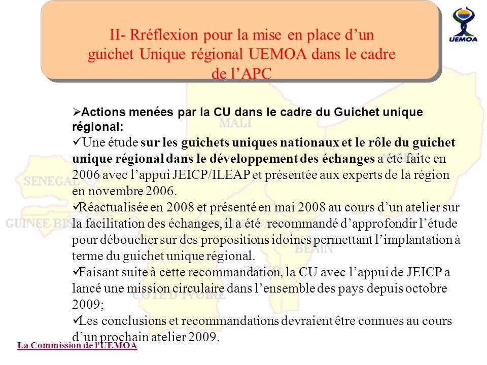 II- Rréflexion pour la mise en place d'un guichet Unique régional UEMOA dans le cadre de l'APC