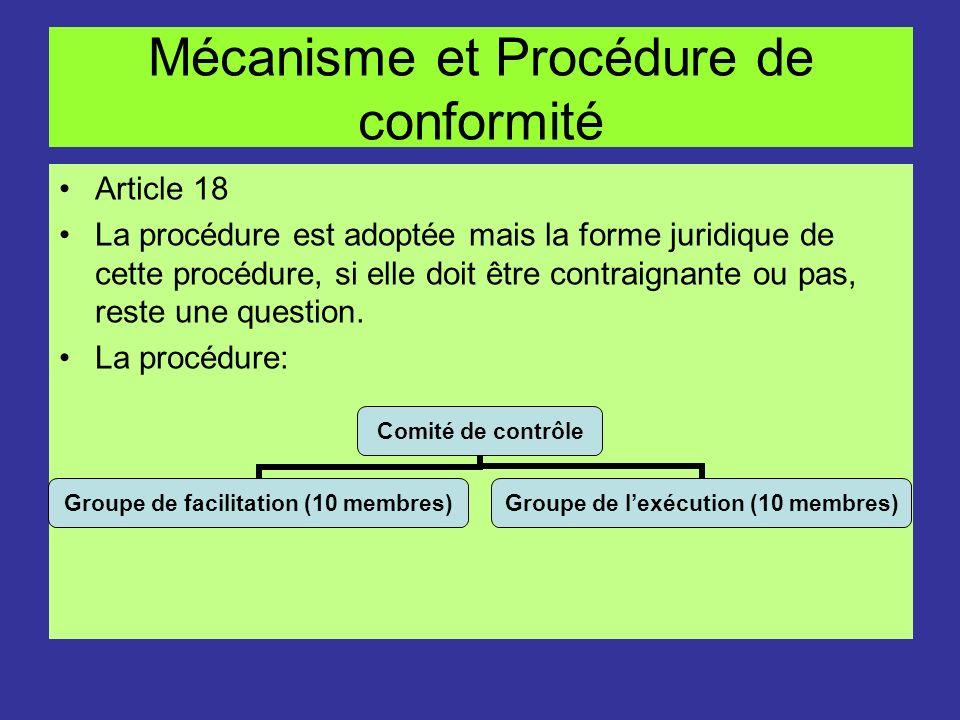 Mécanisme et Procédure de conformité