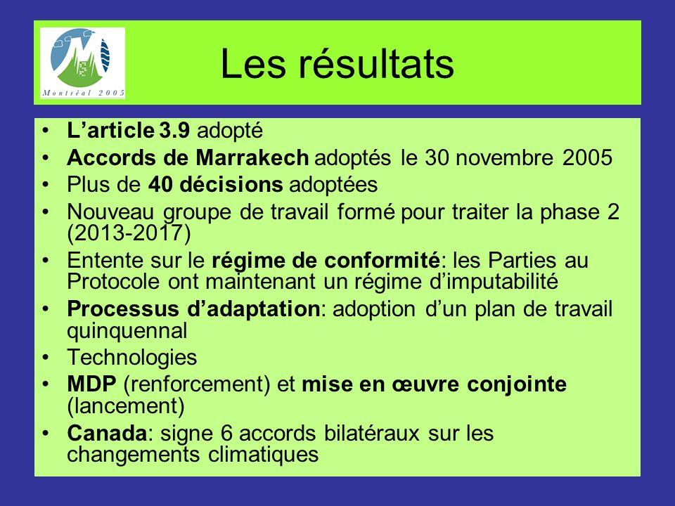 Les résultats L'article 3.9 adopté