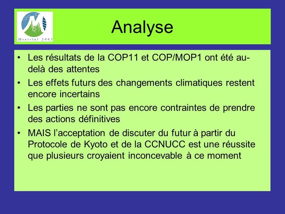 Analyse Les résultats de la COP11 et COP/MOP1 ont été au-delà des attentes. Les effets futurs des changements climatiques restent encore incertains.