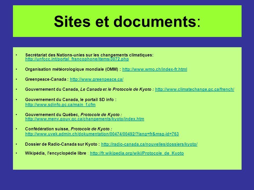 Sites et documents: Secrétariat des Nations-unies sur les changements climatiques: http://unfccc.int/portal_francophone/items/3072.php.