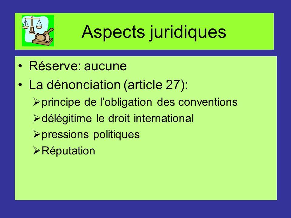 Aspects juridiques Réserve: aucune La dénonciation (article 27):
