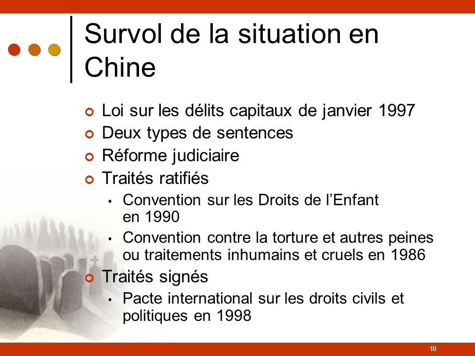 Survol de la situation en Chine