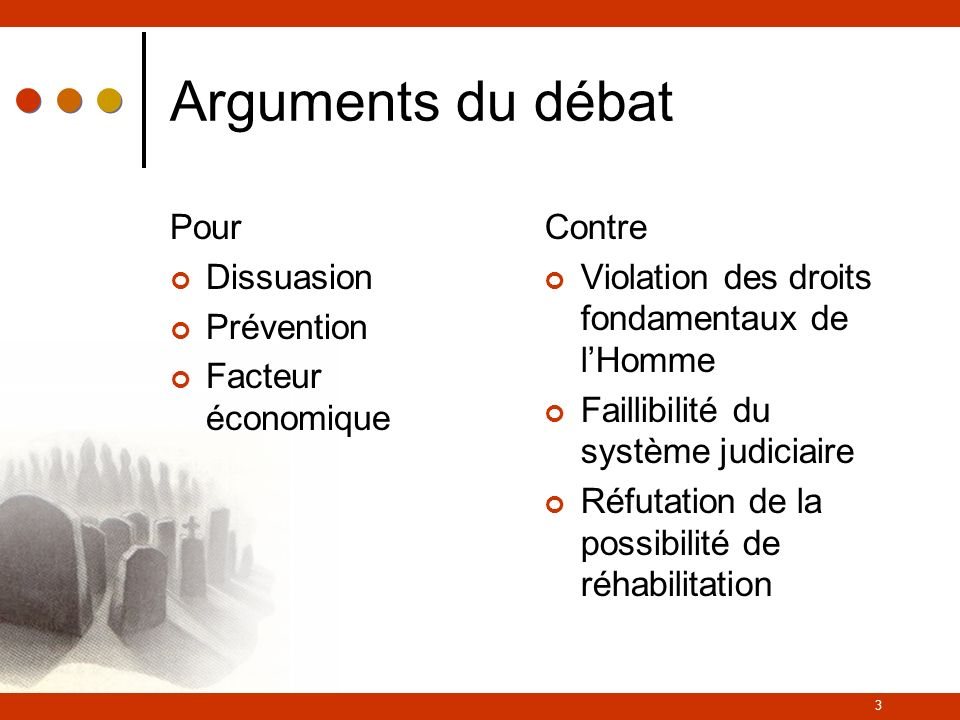 Arguments du débat Pour Dissuasion Prévention Facteur économique