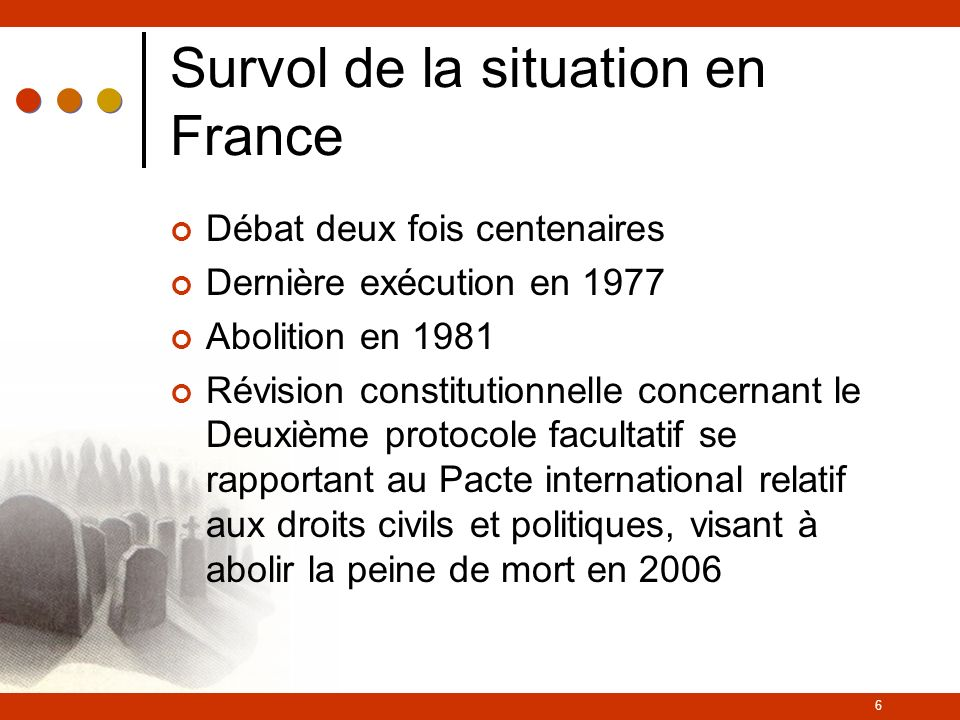 Survol de la situation en France