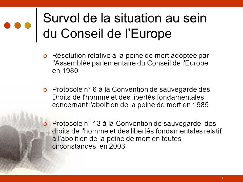 Survol de la situation au sein du Conseil de l'Europe