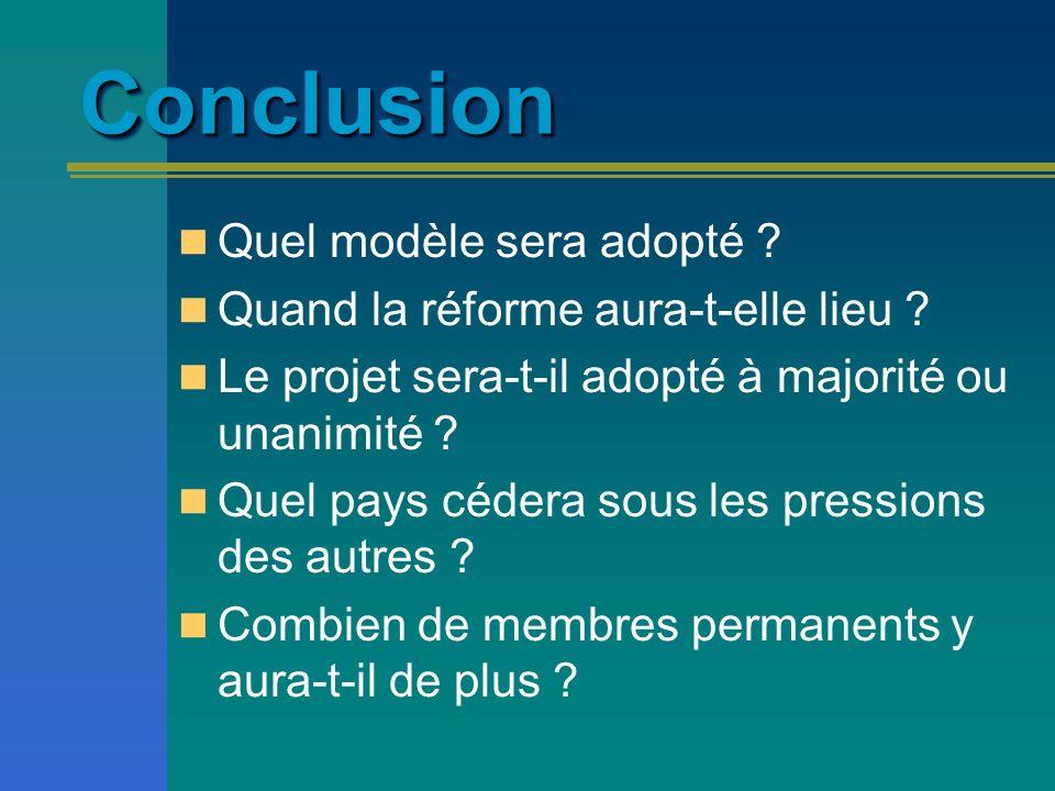Conclusion Quel modèle sera adopté