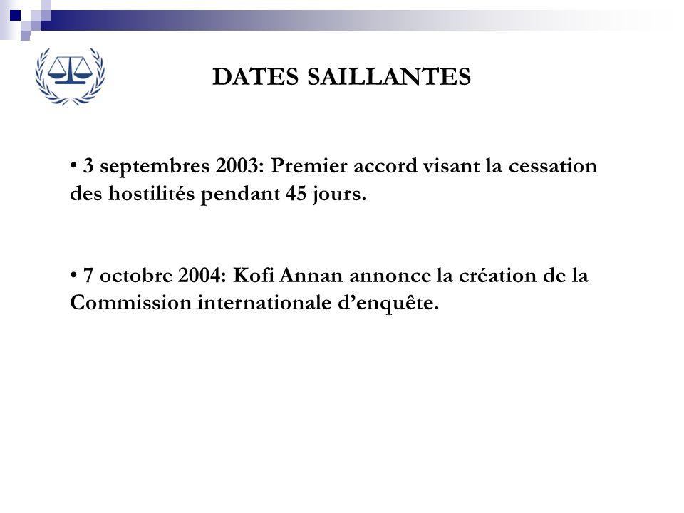 DATES SAILLANTES3 septembres 2003: Premier accord visant la cessation des hostilités pendant 45 jours.