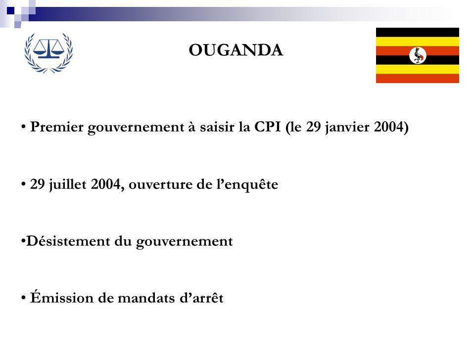 OUGANDA Premier gouvernement à saisir la CPI (le 29 janvier 2004)