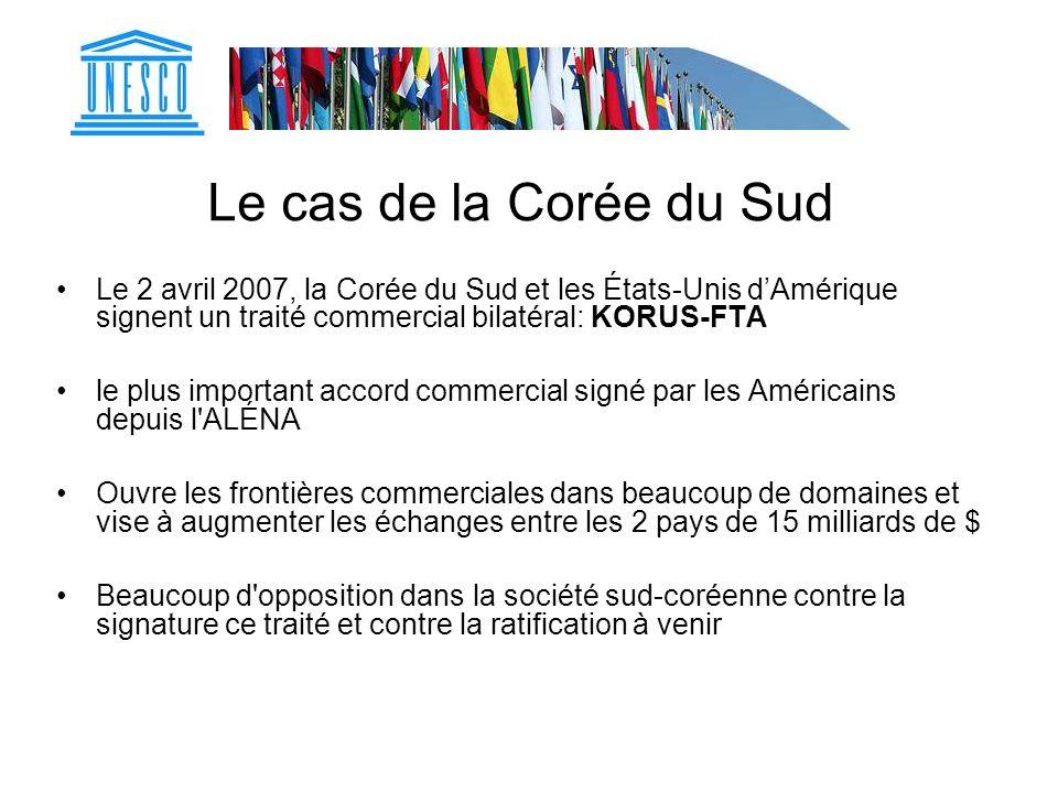 Le cas de la Corée du Sud Le 2 avril 2007, la Corée du Sud et les États-Unis d'Amérique signent un traité commercial bilatéral: KORUS-FTA.