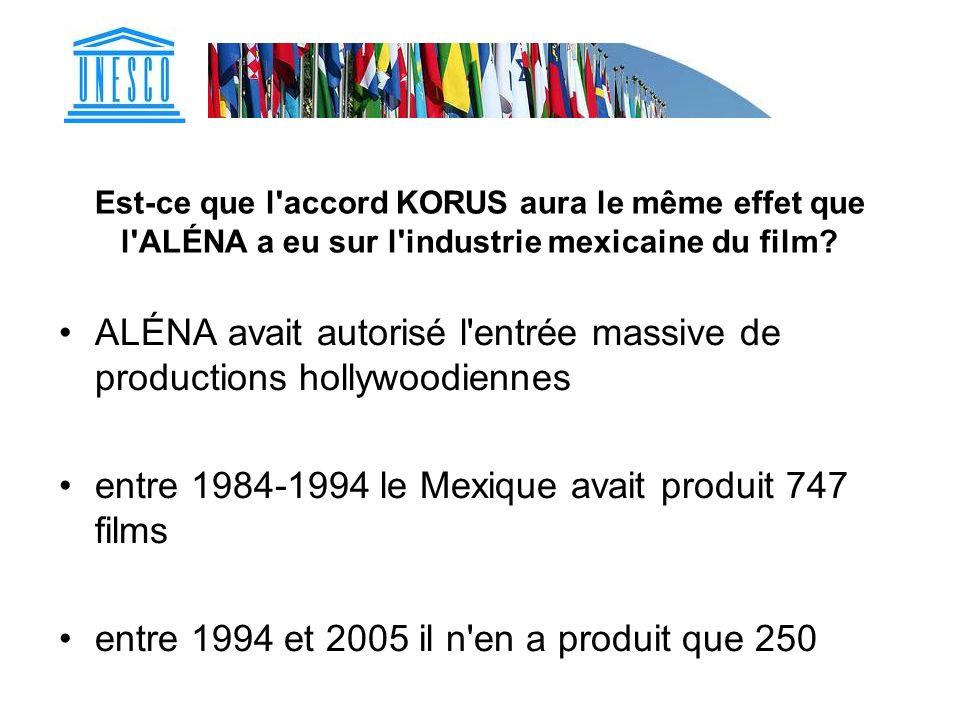 ALÉNA avait autorisé l entrée massive de productions hollywoodiennes