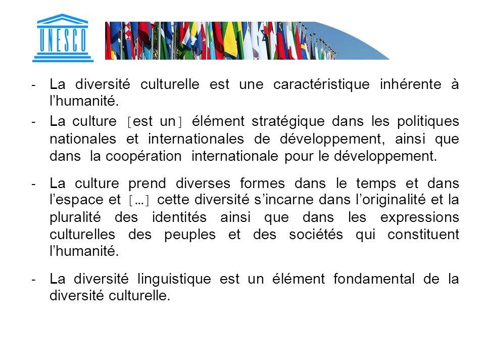 La diversité culturelle est une caractéristique inhérente à l'humanité.