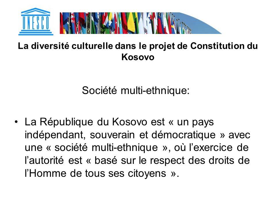 La diversité culturelle dans le projet de Constitution du Kosovo