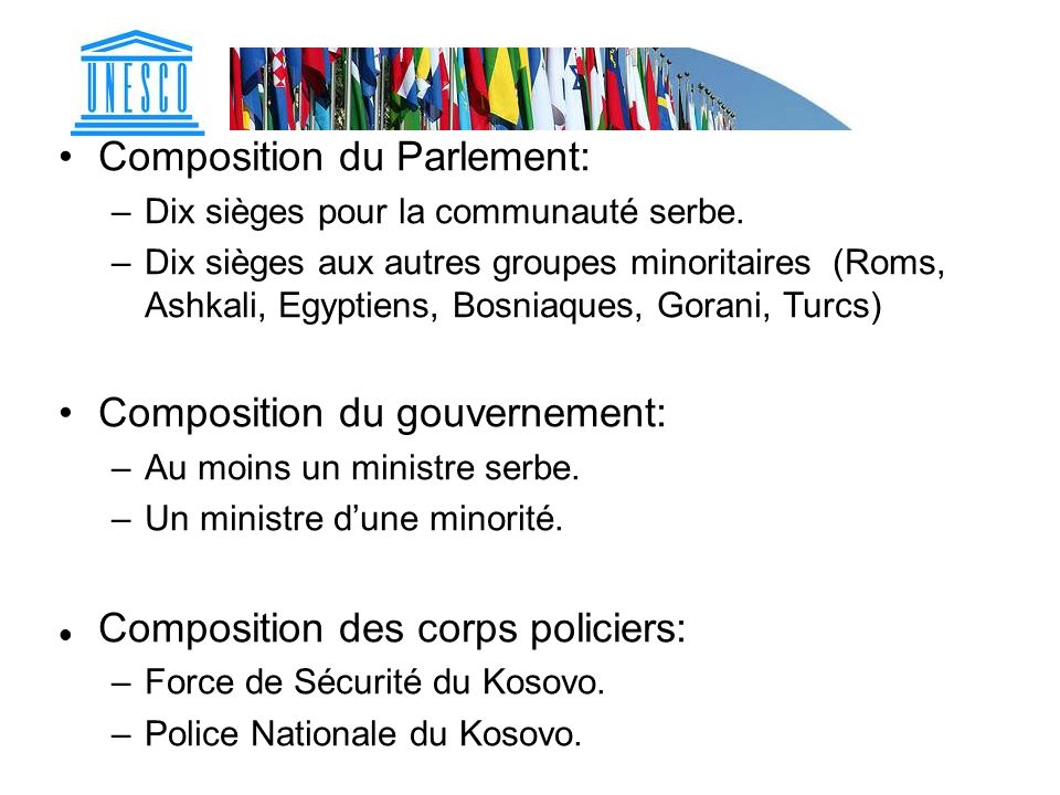 Composition du Parlement: