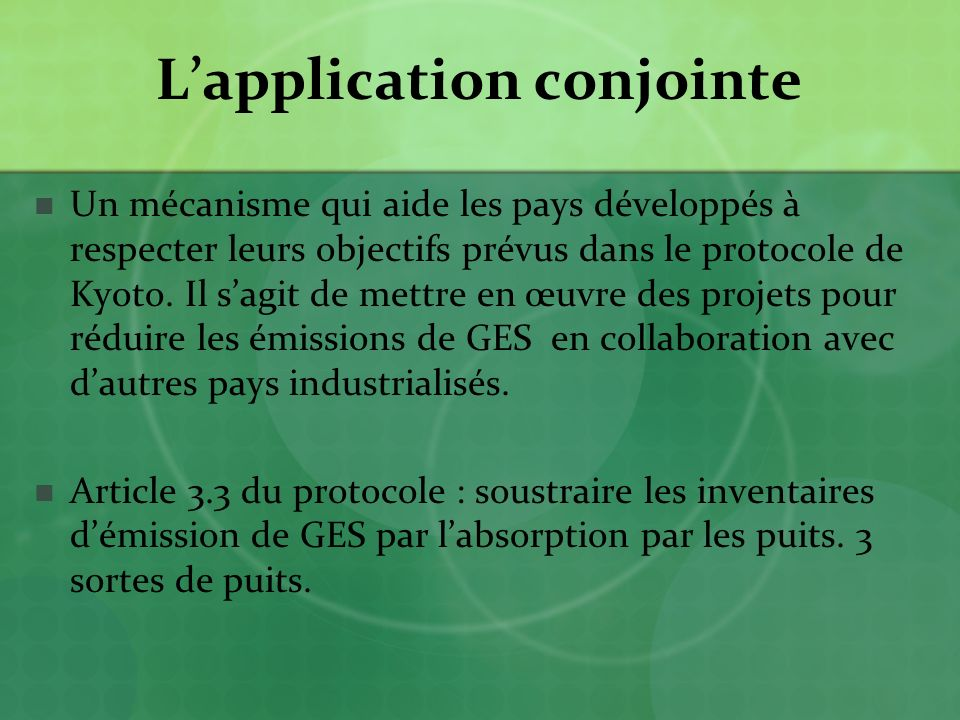 L'application conjointe