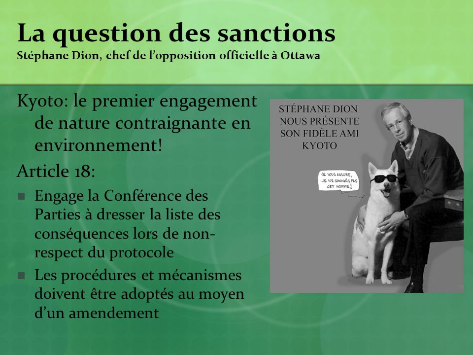 La question des sanctions Stéphane Dion, chef de l'opposition officielle à Ottawa