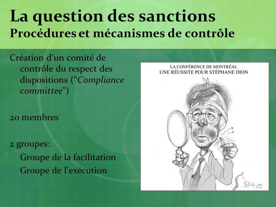 La question des sanctions Procédures et mécanismes de contrôle