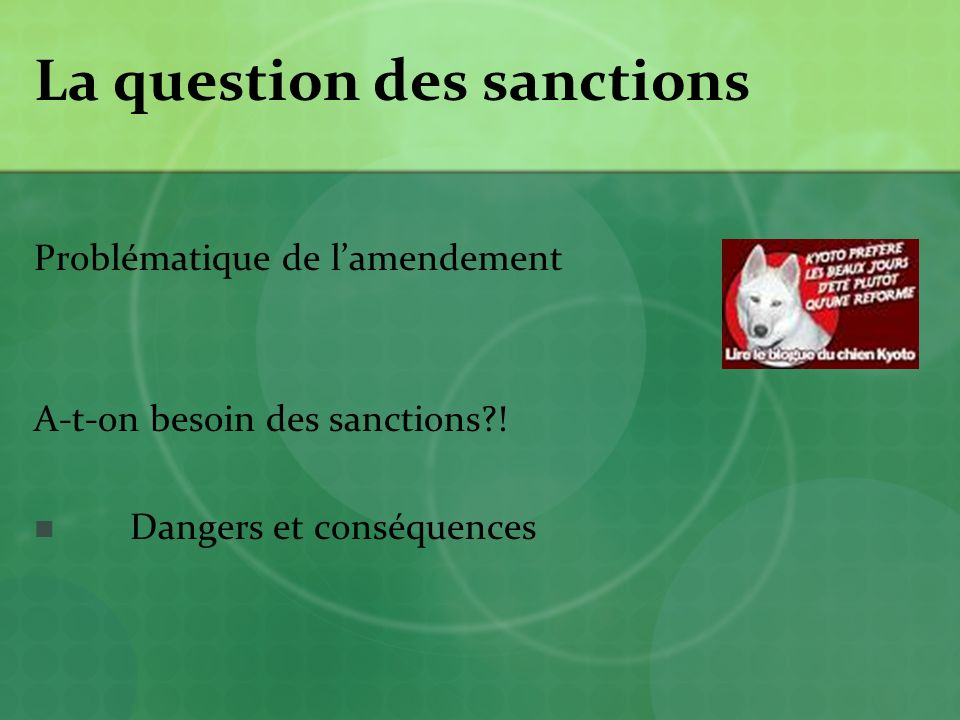 La question des sanctions