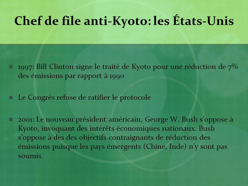 Chef de file anti-Kyoto: les États-Unis