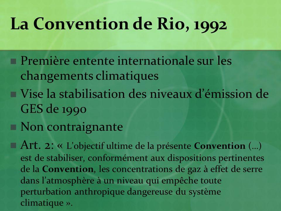 La Convention de Rio, 1992 Première entente internationale sur les changements climatiques.