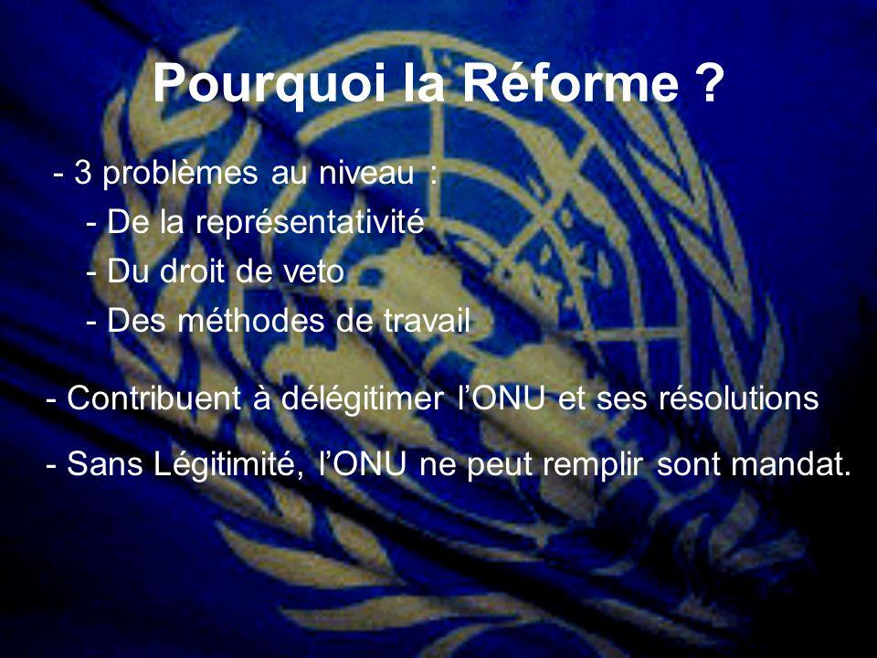 Pourquoi la Réforme - 3 problèmes au niveau :