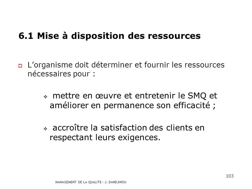 6.1 Mise à disposition des ressources