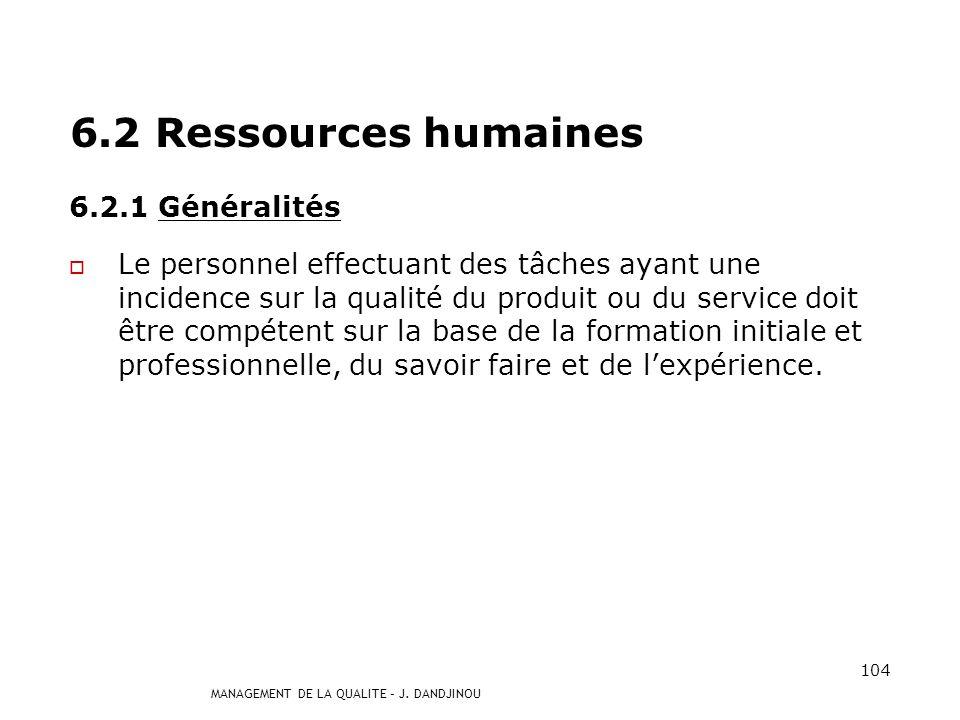 6.2 Ressources humaines 6.2.1 Généralités